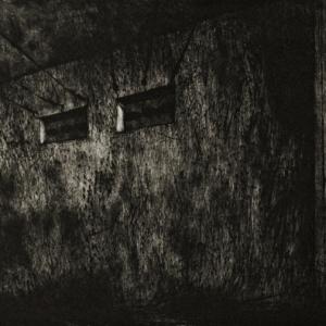 Joanna Pałys: Bunkier, grafika w technice suchej igły, 65,5x33,5cm, 2007