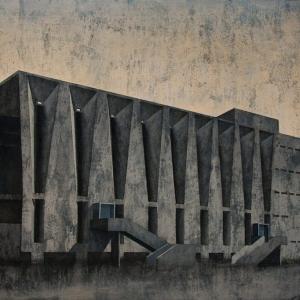 """Joanna Pałys, obraz pt. """"Element Modernistyczny. Kadr 7"""", technika: akryl na płótnie, 2013"""