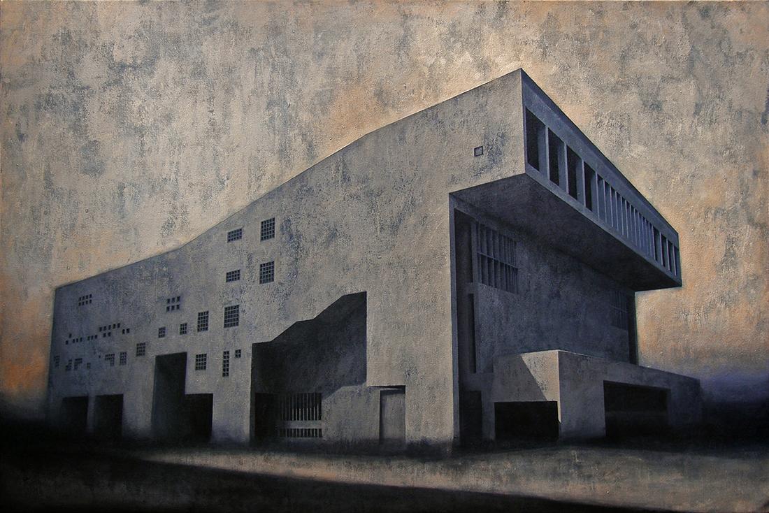 """Joanna Pałys, obraz pt. """"Element modernistyczny. Kadr 8"""", technika: akryl na płótnie, 2014 rok"""
