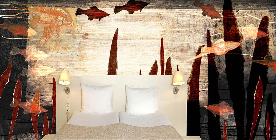 Podwodny Świat - wizualizacja projektu malarstwa ściennego, Hotel Bloom, Bruksela, 2008