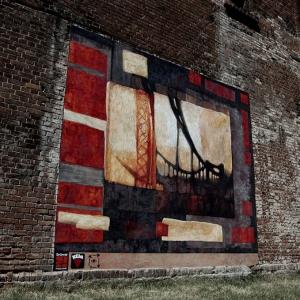 Pejzaż industrialny - mural zrealizowany na terenie Browaru Mieszczańskiego we Wrocławiu, technika: farby mineralne Keima, 400x450cm, Wrocław 2008