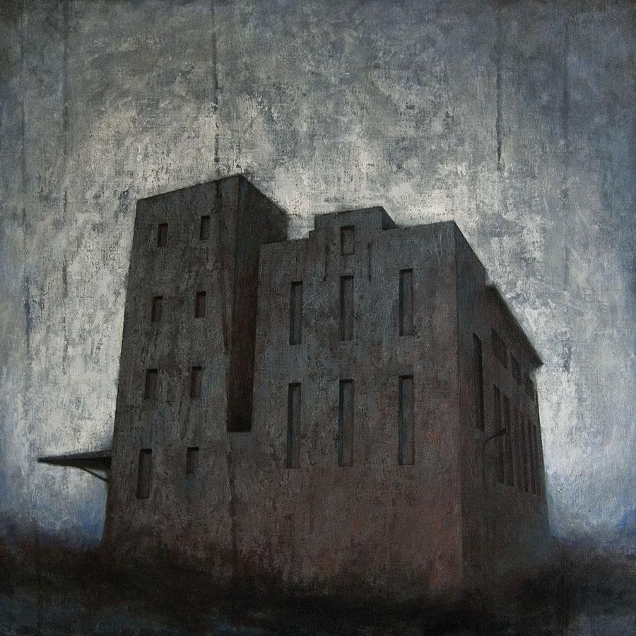 """Joanna Pałys """"Obiekt 11"""", akryl na płótnie, 100x100cm, 2010 rok. - Nagroda Firmy Sennelier w II Międzynarodowym Biennale Obrazu """"Quadro-Art"""", Galeria ZPAP """"Na Piętrze"""", Łódź"""