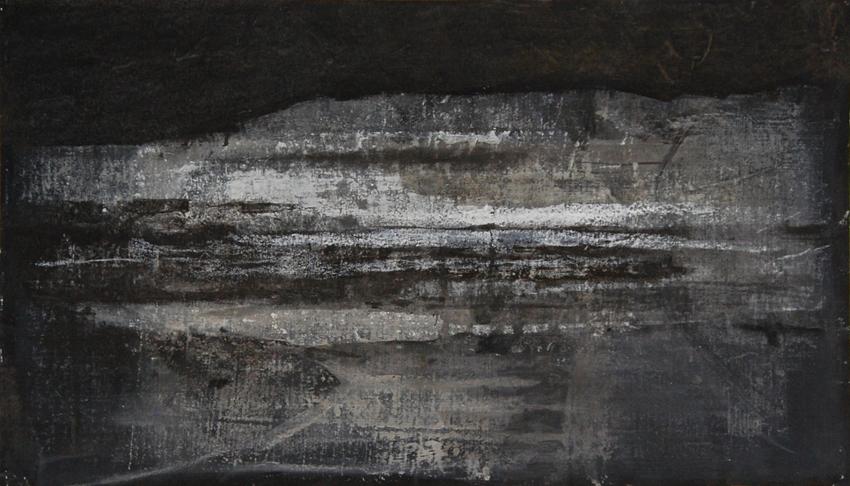 Joanna Pałys: Nokturn - Pejzaż zimowy, technika mieszana, papier, 40x70cm, 2006