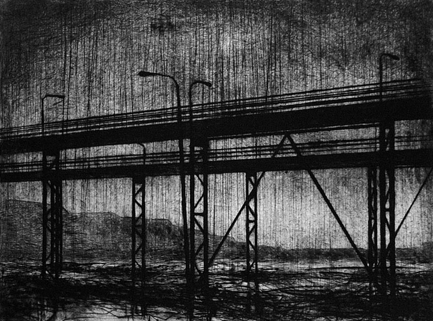 Joanna Pałys: Nokturn II, część tryptyku, sucha igła, 35,7x26,5cm, 2006/2007