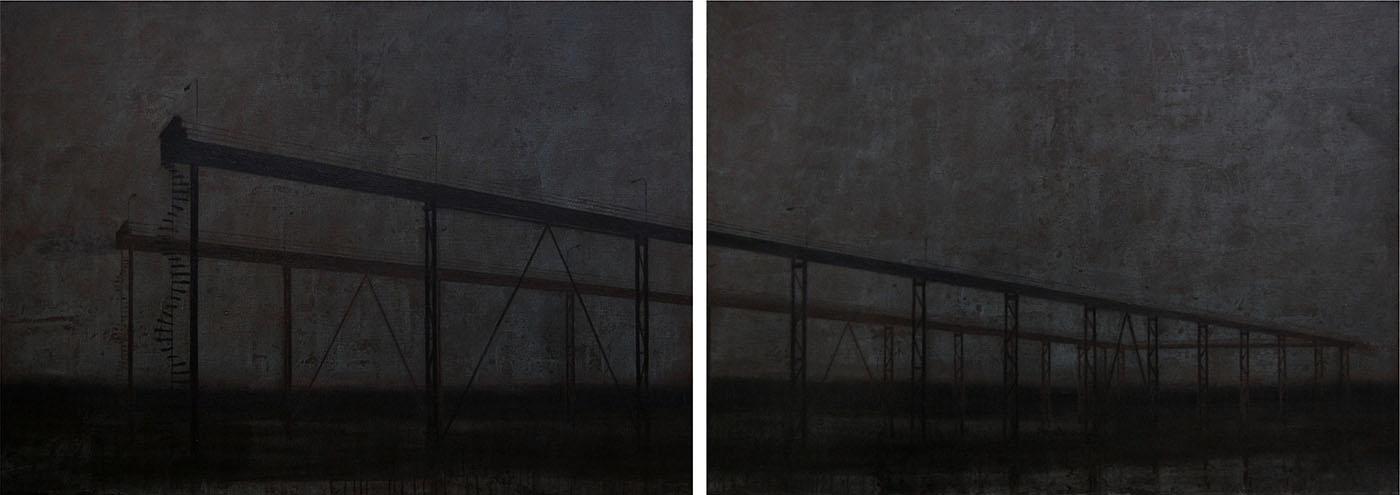 "Joanna Pałys ""Nokturn"", akryl na płótnie, dyptyk, 100 x 280cm, 2007"
