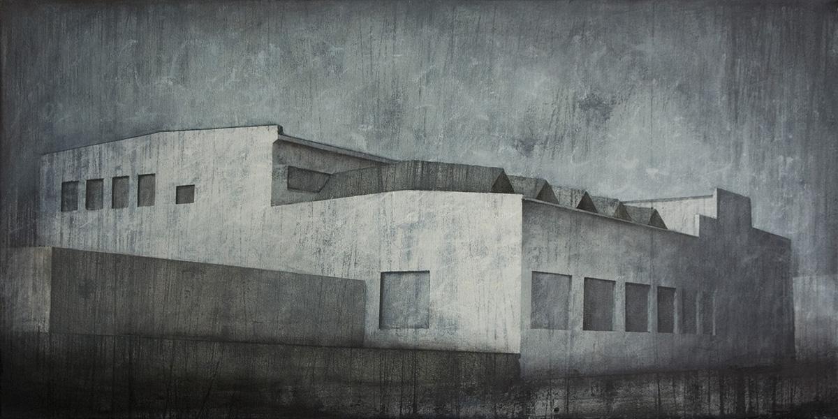 """Joanna Pałys """"Obiekt 61"""", akryl na płótnie, 50x100cm, 2011 rok."""
