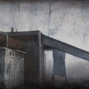 "Joanna Pałys, ""Obiekt J9"", akryl na płótnie, 50x100cm, 2010"