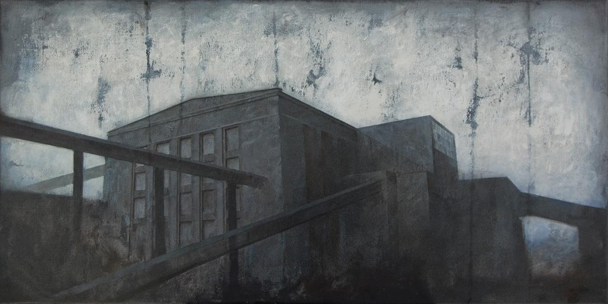 """Joanna Pałys """"Obiekt J7"""", akryl na płótnie, 50x100cm, 2010 rok."""