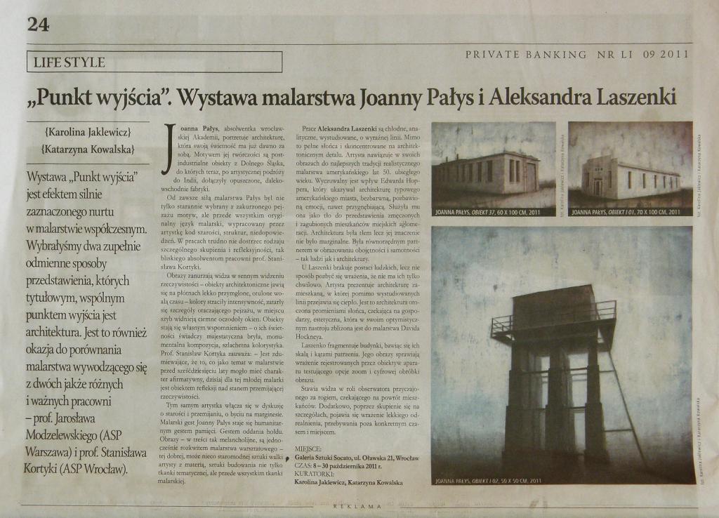 """Artykuł o wspólnej wystawie Aleksandra Laszenki i Joanny Pałys """"Punkt wyjścia"""", Private Banking, X 2011"""