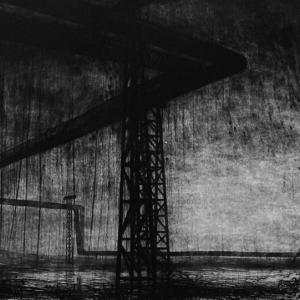 Joanna Pałys, Pejzaż Industrialny, grafika w technice mieszanej: sucha igła i technika własna, 49,7×81,4cm, 2008