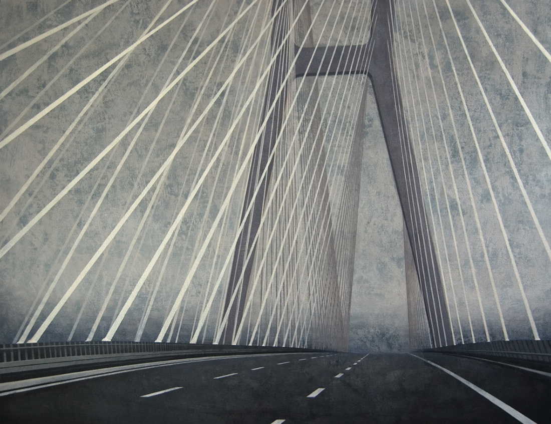 "Joanna Pałys, obraz pt. ""Most – Przemiana I"", akryl na płótnie, 100 x 130 cm, 2012 rok."