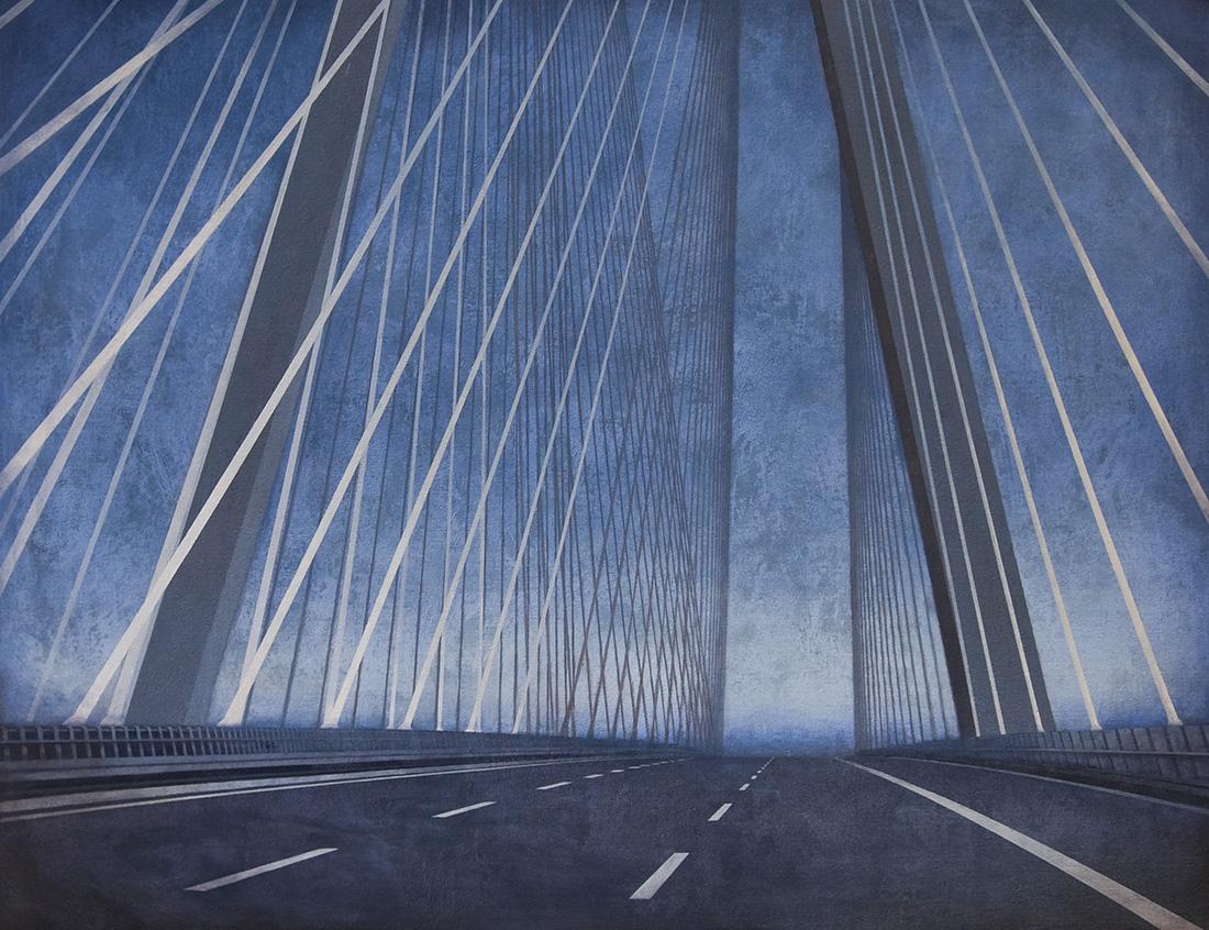 """Joanna Pałys, """"Most - Przemiana II"""", akryl na płótnie, 2013 rok."""