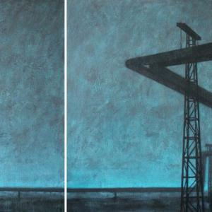 """Joanna Pałys """"Pejzaż Industrialny"""", akryl na płótnie, dyptyk 100 x 240cm, 2007 r."""
