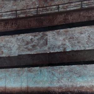 """Joanna Pałys """"Pejzaż Industrialny IV"""", technika mieszana, akryl na płótnie, dyptyk: 280 x 100cm, 2008 r."""