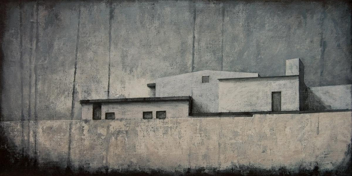 """Joanna Pałys """"Pejzaż obiektywny I"""", akryl na płótnie, 50x100cm, 2010 rok."""