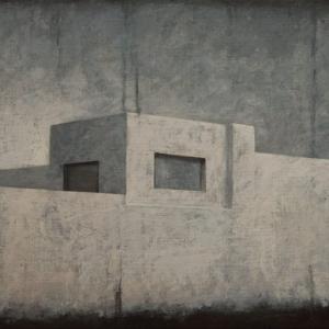 """Joanna Pałys """"Pejzaż obiektywny II"""", akryl na płótnie, 50x100cm, 2010 r."""