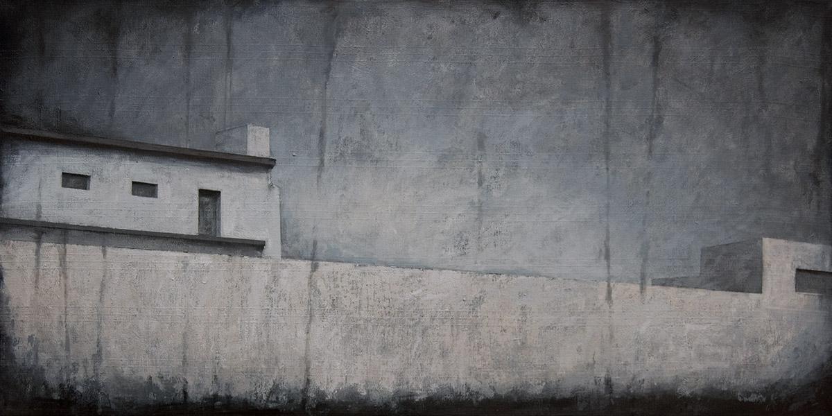 """Joanna Pałys """"Pejzaż obiektywny III"""", akryl na płótnie, 50x100cm, 2010 rok."""