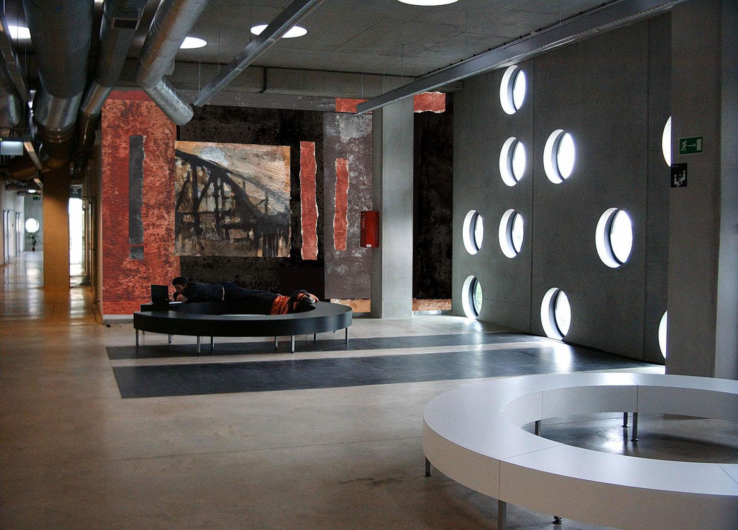 Wizualizacja projektu malarstwa ściennego we wnętrzach Zintegrowanego Centrum Studenckiego Politechniki Wrocławskiej, Wrocław 2007/200