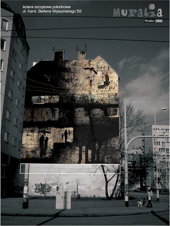 Muralia 2006 - wizualizacja projektu malarstwa ściennego, ul. Kard. Stefana Wyszyńskiego 52, Wrocław 2006