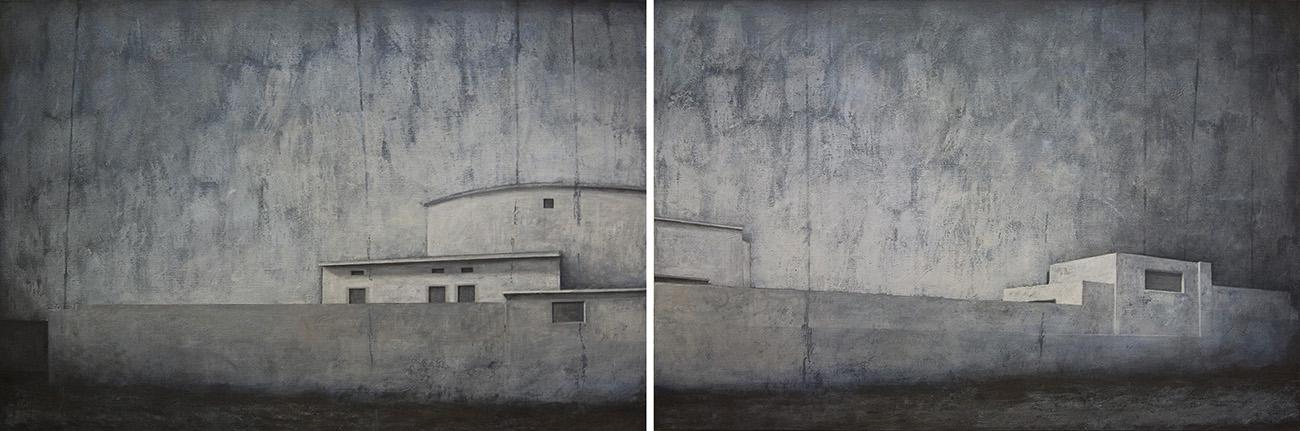 Joanna Pałys, Obraz z cyklu Pejzaży Obiektywnych, akryl na płótnie, dyptyk 100 x 300 cm, 2009 rok.