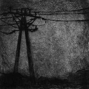 """Joanna Pałys: bez tytułu - grafika z cyklu """"Nokturny"""", 12,5x12,5cm, sucha igła, 2006"""
