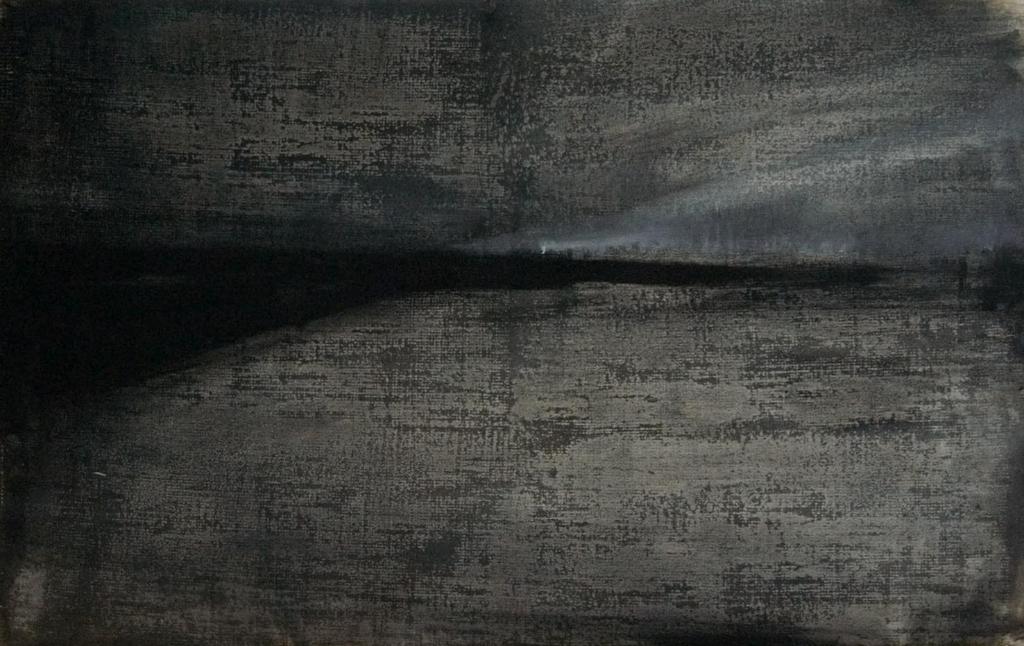 """Joanna Pałys: Latarnia, praca z cyklu """"Nokturny"""", technika mieszana, papier, 42x66cm, 2006"""