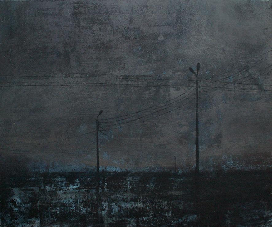 """Joanna Pałys """"Pejzaż nocny. Latarnie"""", technika własna mieszana na płótnie, 75×90, 2006"""