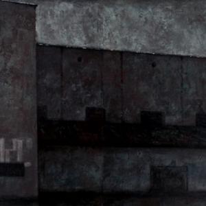 """Joanna Pałys """"Pejzaż postindustrialny. Miejsce, którego nie ma"""", akryl na płótnie, dyptyk: 100x300cm, 2008 r."""