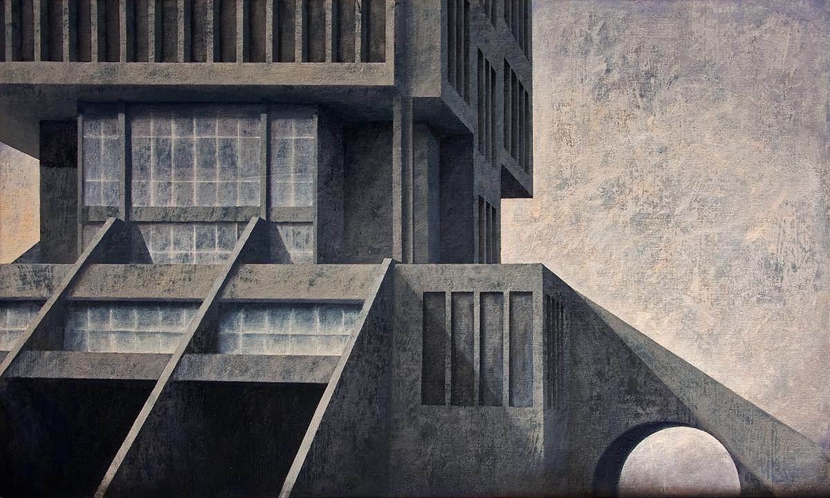 """Joanna Pałys, """"Element Modernistyczny - Kadr 5"""", akryl na płótnie, 60x100cm, 2012 rok."""