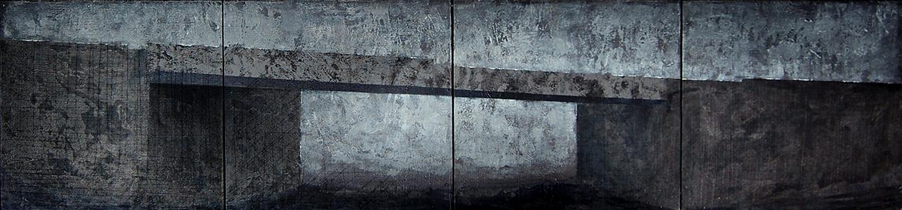 Joanna Pałys, obraz z cyklu Pejzaży Postindustrialnych, technika mieszana na desce, poliptyk,150 × 35 cm, 2008 r.