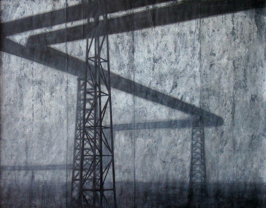 """Joanna Pałys, praca z cyklu """"Pejzaży industrialnych"""", technika mieszana, papier, 180x200cm, 2007"""