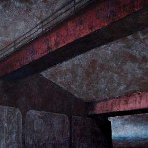 """Joanna Pałys """"Pejzaż Industrialny I"""", technika mieszana / akryl na płótnie, 100x140cm, 2008"""