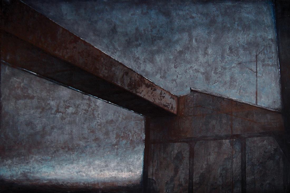 """Joanna Pałys """"Pejzaż Industrialny III"""", technika mieszana / akryl na płótnie, 100x140cm, 2008"""
