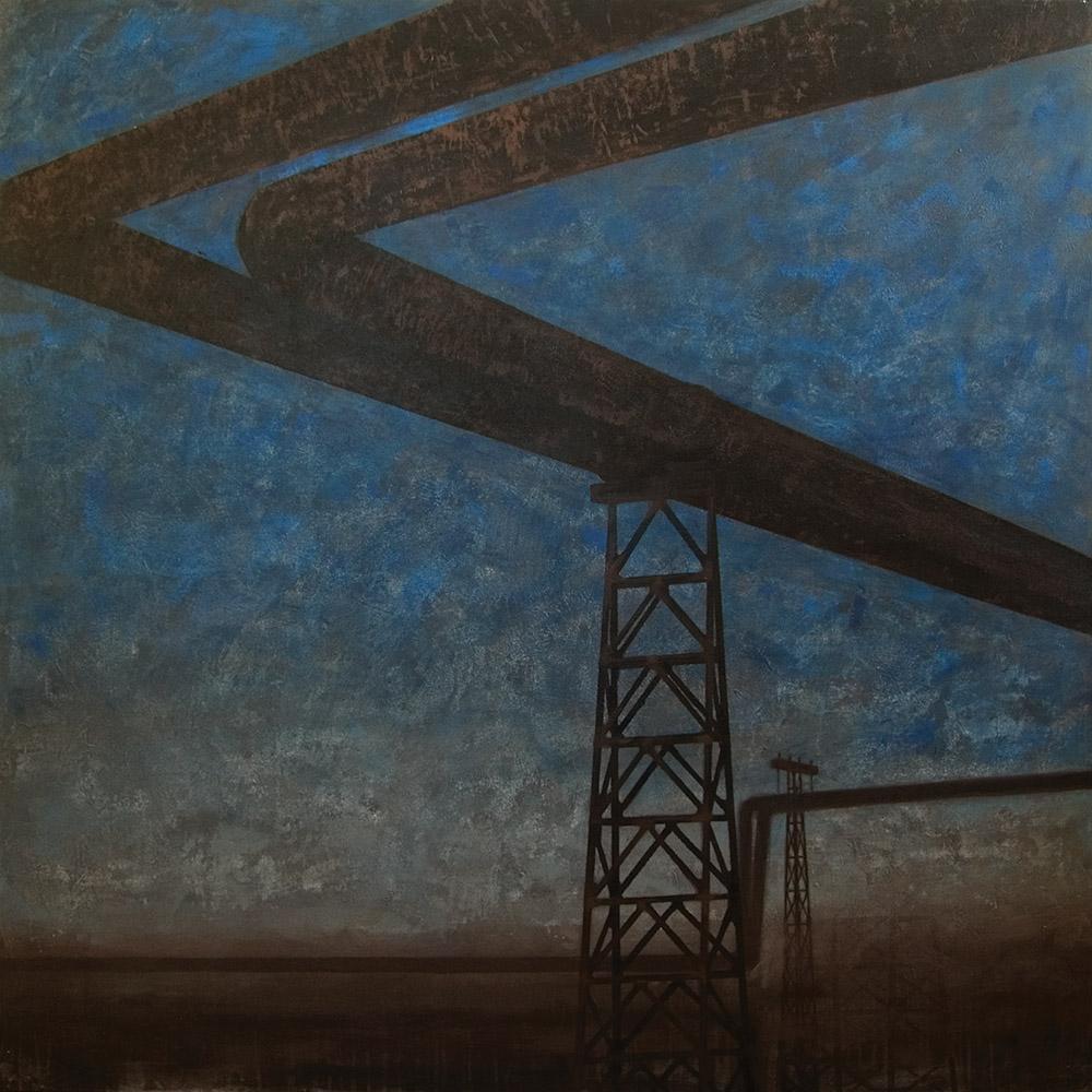 Joanna Pałys, obraz z cyklu Pejzaży Industrialnych, akryl na płótnie, 130×130, 2007 r.