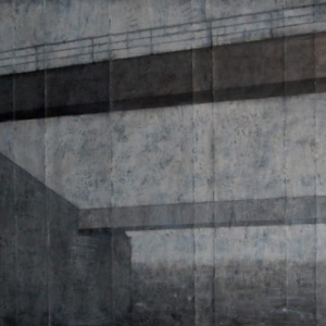 """Joanna Pałys, praca z cyklu """"Pejzaże industrialne"""", technika mieszana, papier, 400x200cm, 2008"""