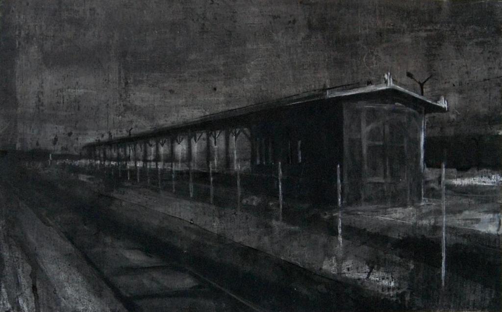 """Joanna Pałys - Bez tytułu - praca z cyklu """"Nokturny"""", technika mieszana, papier, 43x70cm, 2006"""