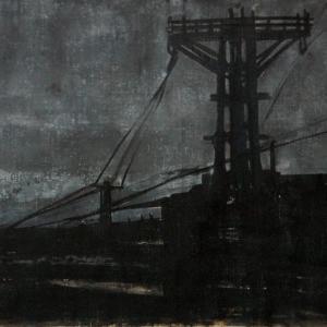 """Joanna Pałys: Praca z cyklu """"Nokturny"""", technika mieszana, papier, 46,5x70cm, 2006"""