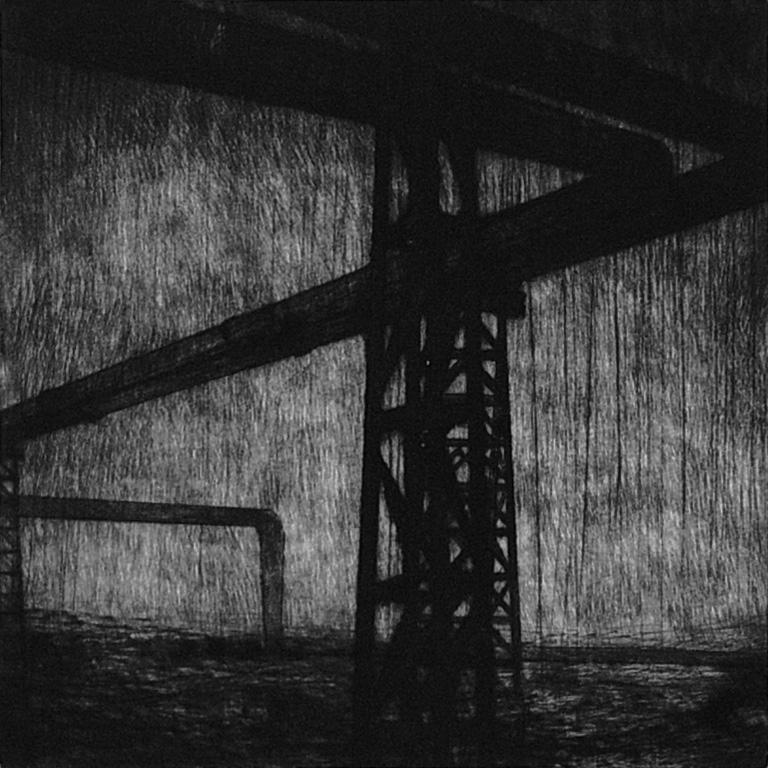 Joanna Pałys: Praca z cyklu Pejzaży industrialnych, 13x13cm, sucha igła, 2008